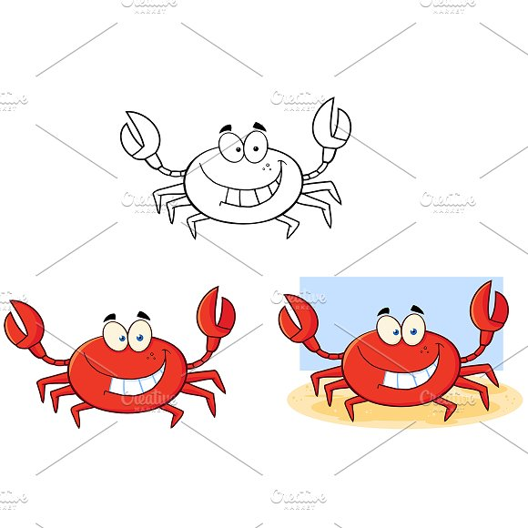 Crab Cartoon Character Collection