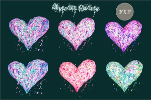 Abstract Acrylic Hearts Blue Purple