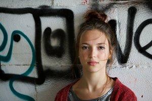 beautiful girl with graffiti