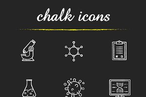 Science lab equipment icons. Vector