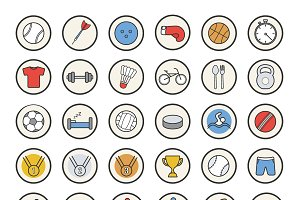 Active sport games icons. Vector