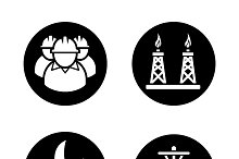Oil and gas industry icons. Vector