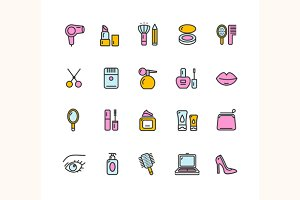 Beauty Colorful Outline Icon Set.