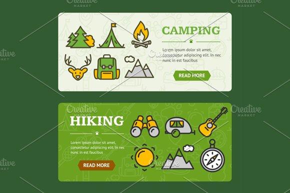 Camping Banner Horizontal Set in Illustrations