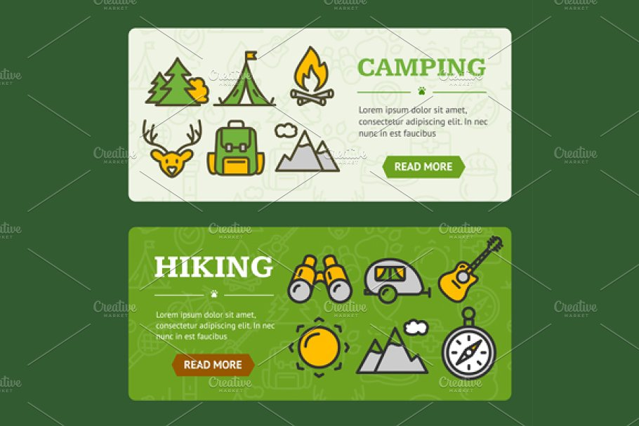Camping Banner Horizontal Set in Illustrations - product preview 8