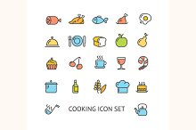 Cooking Colorful Outline Icon Set