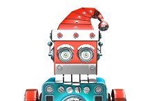 Retro Santa Robot looking out from behind the blank board. Isolated over white. Contains clipping path