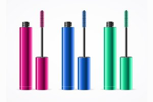 Colorful Mascara Set. Vector