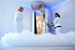 Woman going for cryotherapy