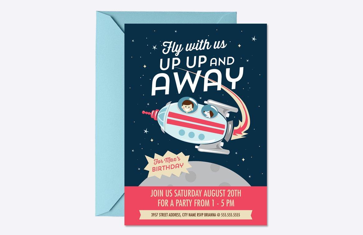 Blast Off Birthday Invite Template ~ Invitation Templates ~ Creative ...