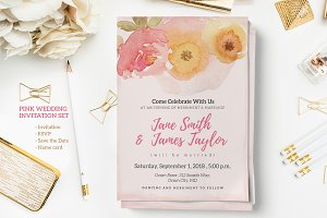 Pink Wedding Invitation Set