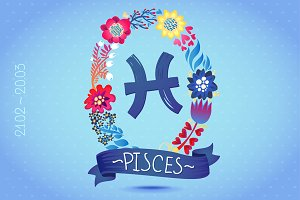 Zodiac sign PISCES in floral wreath