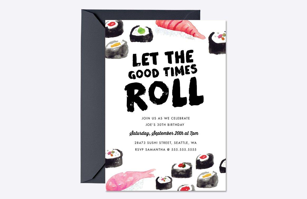 Sushi Birthday Invite Template ~ Invitation Templates ~ Creative Market