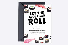 Sushi Birthday Invite Template