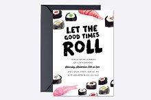 Sushi Birthday Invite Template