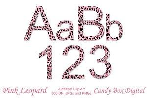 Pink Leopard Alphabet Clip Art