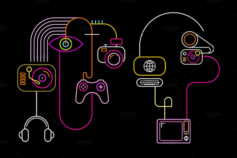 Abstract Neon Faces in Illustrations - product preview 8