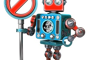 Retro Robot with NO ENTRY sign. Isolated. Contains clipping path