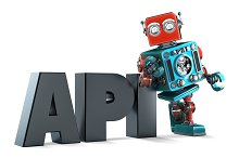 Retro Robot with application programming interface sign. Isolated. Contains clipping path