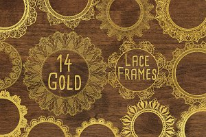 Gold Lace Frames Clipart Overlays