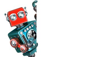 Retro Robot showing blank banner. Isolated. Contains clipping path