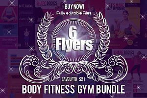 6 Body Fitness Flyers Bundle