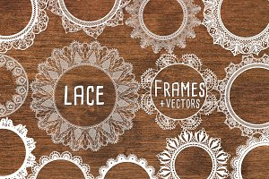 White Lace Frames with Lace Vectors