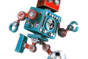 Retro robot playing soccer. Isolated. Contains clipping path.