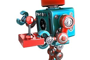 Retro Robot with a joystick. Isolated. Contains clipping path