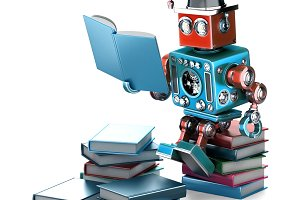 Vintage Robot reading books. Education concept. Isolated. Contains clipping path