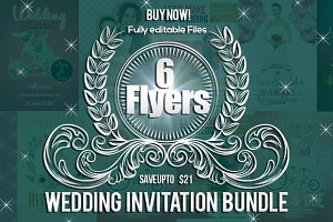 6 Wedding Invitation Flyers Bundle