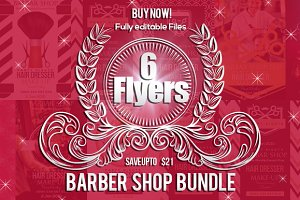6 Barber Shop Flyers Bundle