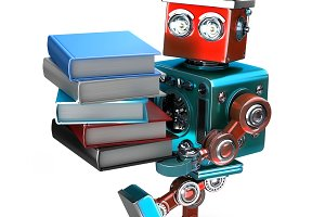 Vintage Robot with stack of books. Isolated. Contains clipping path