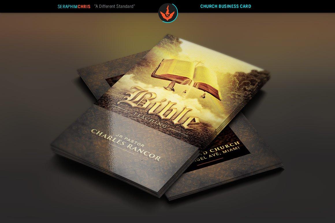 bible teacher church business card business card templates creative market - Church Business Cards