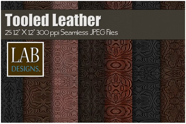 25 Tooled Leather Textures Seamless