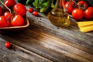 Fresh food ingredients for pasta