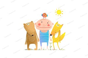 Animals child friends fox bear bird