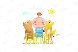 Animals fox bear bird kid friendship