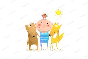 Animals friends fox bear bird kid