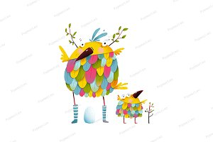 Funny bird family mother egg kid