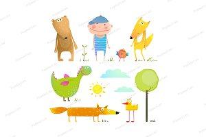 Collection cartoon animals and child