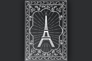 Hand drawn Eiffel Tower in Paris