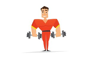 Man in red with dumbbells