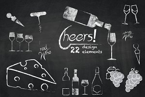 Cheers - Chalkboard Wine Cliparts