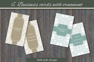 6 Business cards with ornament