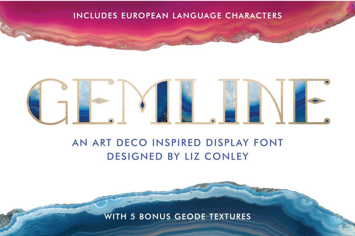 Gemline - 5 *FREE* Bonus Textures ~ Display Fonts ~ Creative Market