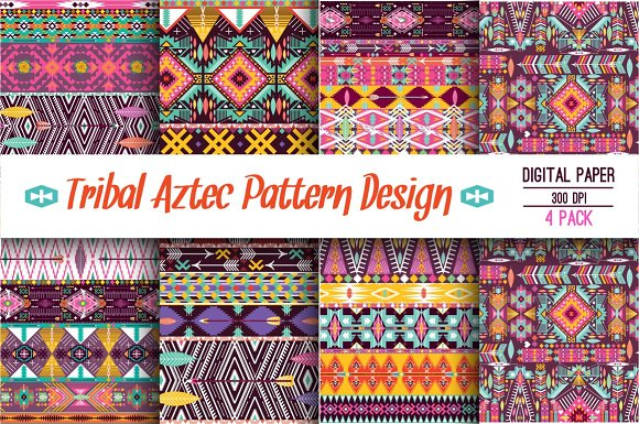Collection Bright Aztec Patterns in Patterns