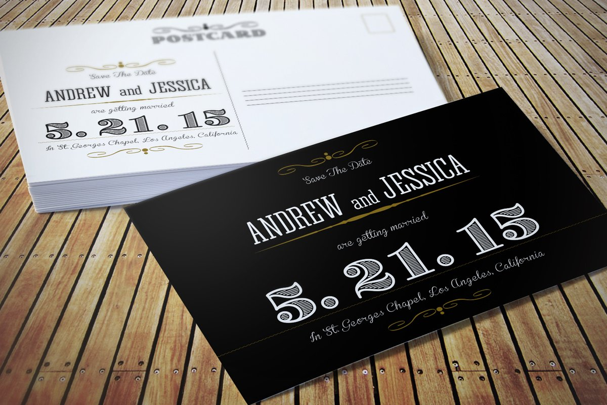 Wedding Invitation Postcard ~ Invitation Templates ~ Creative Market