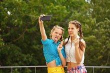 Best friends being shoted. Selfie