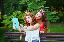 Best friends in park. Group selfies